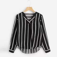 1 x Women Shirt Casual Autumn Long Sleeve V Neck Irregular Stripe Slim fit Bluose Free Shopping M0926