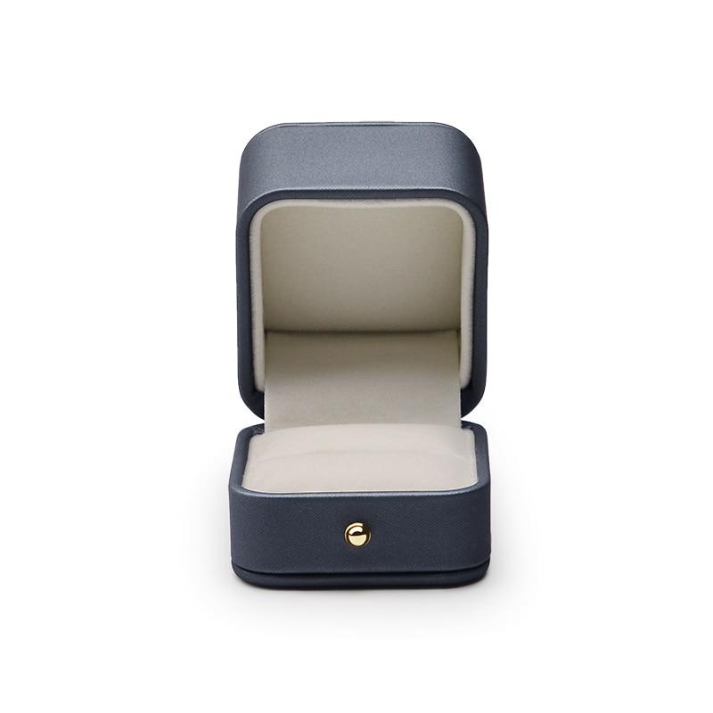 Великолепная стальная синяя коробка для колец Oirlv, Премиум кожаная Подарочная коробка для колец для свадьбы, футляр для хранения ювелирных ...
