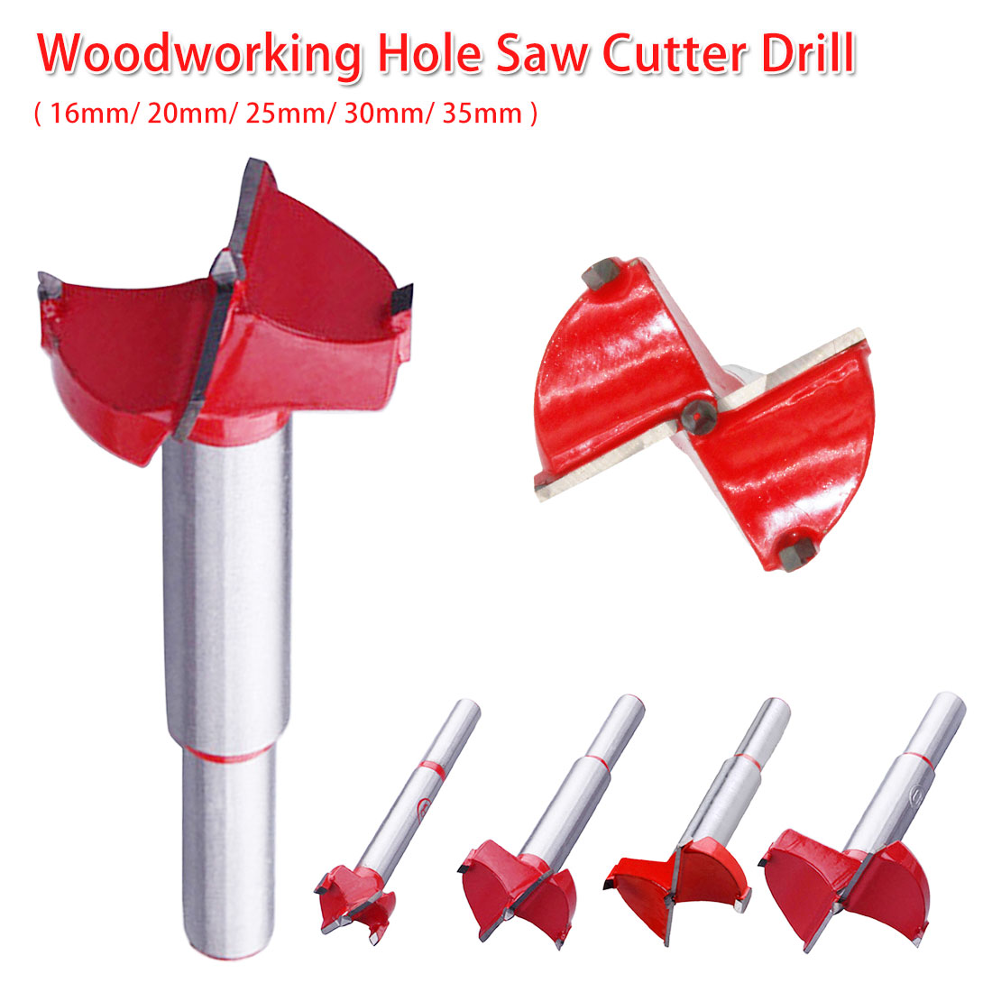 Alloy Hole Opener Drill Bit Professional Forstner Woodworking Hole Saw Cutter Flat Wing Drill 16-35mm For Wood Panel/ Cabinet