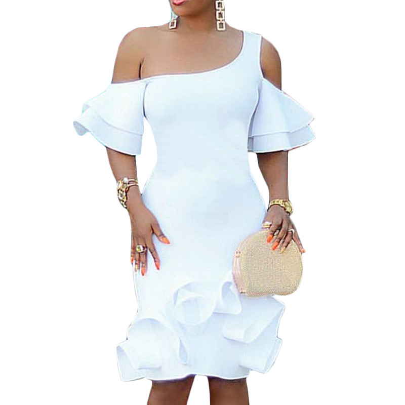 Sexy Straight Knee Length Cocktail Dresses One Shoulder Short Sleeves White Party Dress Gown Plus Size With Stretch In Stock