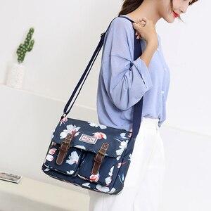 Image 5 - حقائب النساء الإناث زهرة مطبوعة حقائب كتف مقاوم للماء النايلون حقيبة ساع السيدات حقيبة كروسبودي ريترو Bolsas
