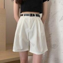 Verão de cintura alta casual feminino shorts formais faixas com cinto sólido em linha reta solta curto 2021 moda feminina coreano calças largas perna
