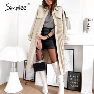 Simplee Elegant pleated women trench autumn winter Casual single-breasted belt female long wind coat Office ladies overcoat