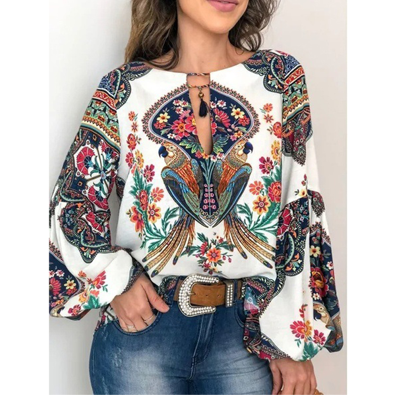 Autumn Women's Fashion Personality Print Round Neck Lantern Sleeve Long Sleeve Shirt Top