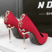 New Korean style women's shoes fashionable sexy pointed bow stiletto heel single shoes nightclub, banquet suede metal heel