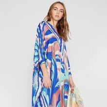 Женское свободное платье gedivoen разноцветное с v образным