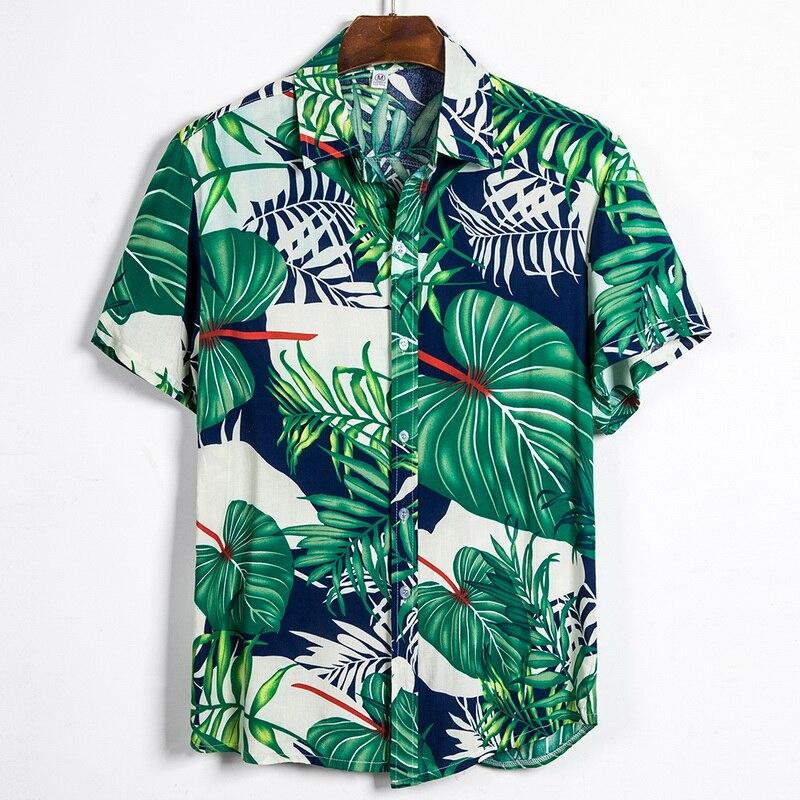 New Arrival Summer Man Shirt Mens Printed Casual Shirts Men Tropical Button Tops Casual Short-sleeve Loose Hawaiian Shirts
