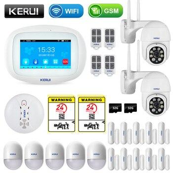 KERUI K52 Wireless Smart Home WIFI GSM Alarm System Smoke Fire APP Control Security  Door Sensor Detector Surveillance IP Camera 1