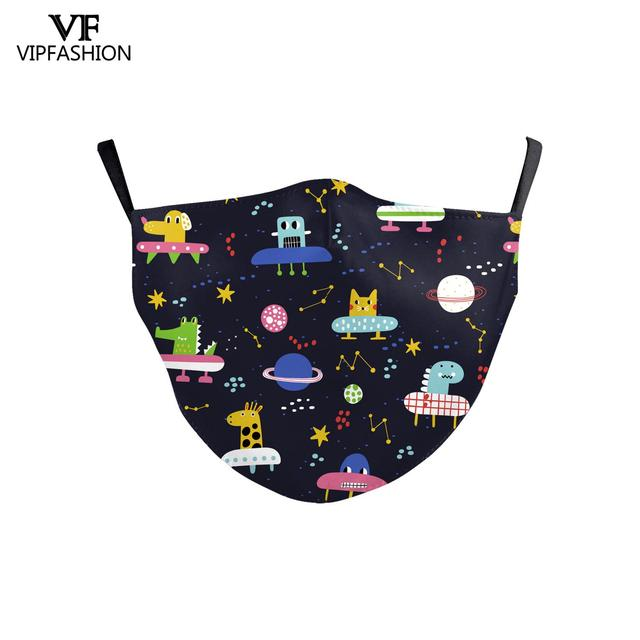 VIP FASHION Reusable Washable Fabric Children Mouth Mask Cute Cartoon Print Face Kid Mask For 3-10 Years old Adjustable 4