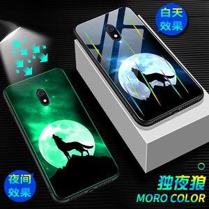 Luminous szklany pokrowiec do obudowy Xiaomi Redmi 8A blask w ciemności szkło hartowane tylna pokrywa dla Xiaomi Redmi 8 8A skrzynki pokrywa krzemu torba
