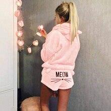 2019 ropa deportiva para mujer, chándal de invierno, trajes deportivos de talla grande, lindo conjunto de dos piezas de color rosa, pijamas cálidos con patrón de gato Miau, sudaderas con capucha