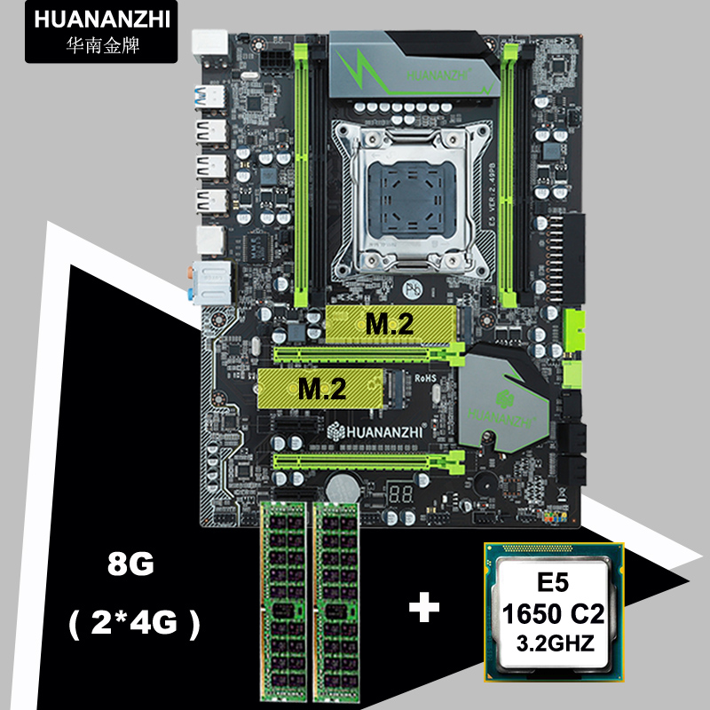 Discount HUANANZHI X79 Pro motherboard bundle dual M.2 slots brand motherboard with CPU Intel Xeon E5 1650 3.2GHz RAM 8G RECC 1
