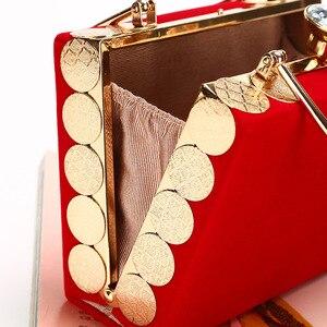 Image 3 - Elegant Velour Hard Surface Women Evening Bags Rectangle Box Bag Handbags Black Red Fashion Party Clutches Ladies bolsa feminina