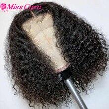 Miss Cara – perruque Bob brésilienne naturelle, cheveux courts bouclés, 4x4, densité 180%, avec baby-hairs, pour femmes africaines