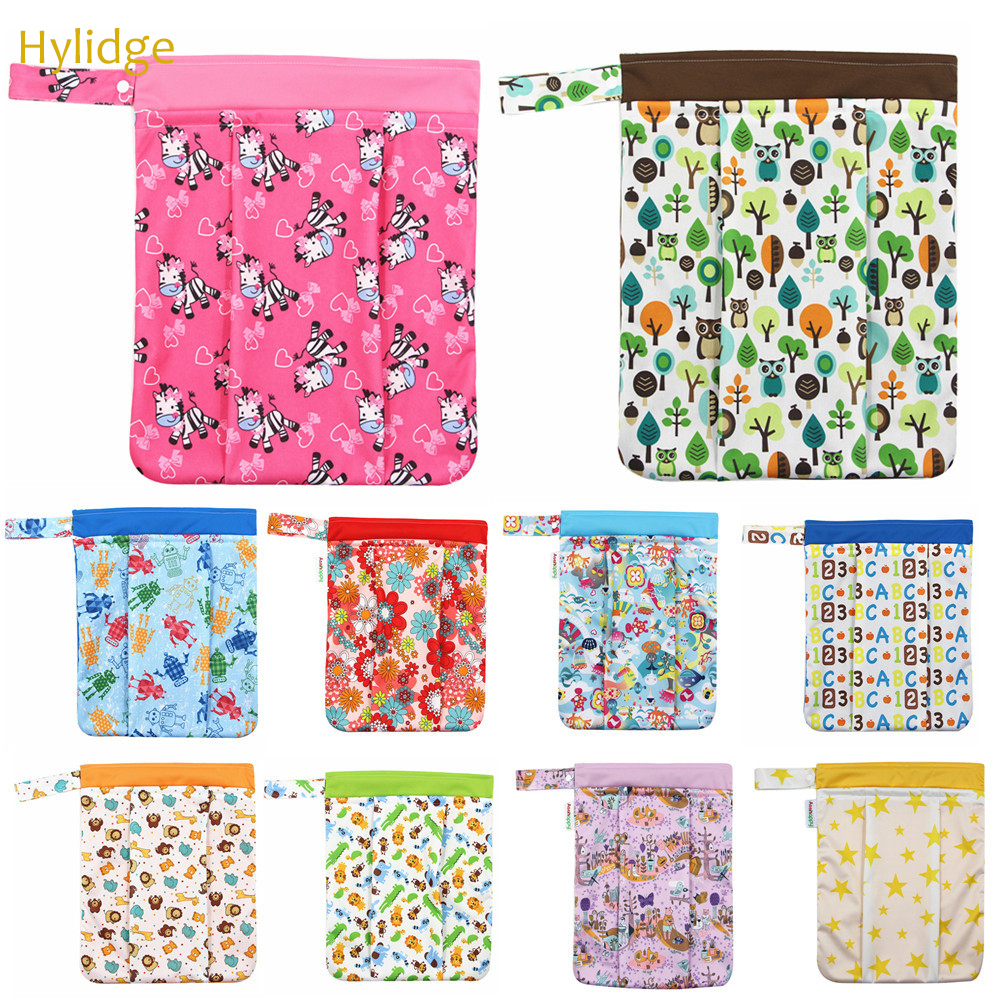 Hylidge 33*40cm Washable Diaper Organizer Double Pocket Reusable Cloth Diaper Nappies Bags Waterproof Sport Travel Carry Bag