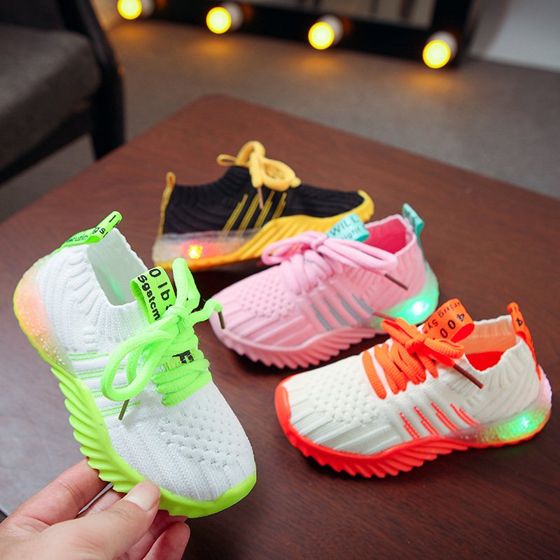 Children's LED Light Net Shoes Spring New Boys Luminous Shoes Wild Girls Knitted Candy Sneakers Baby Fashion Sports Shoes