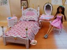 Echtes möbel schlafzimmer für barbie prinzessin bett puppe zubehör 1/6 bjd puppe haus mini kommode schrank set kind spielzeug geschenk