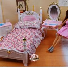 Genuine furniture bedroom for barbie princess bed doll accessories 1/6 bjd doll house mini dresser c