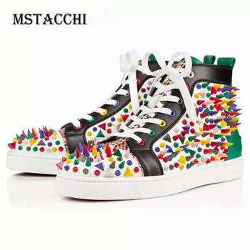 MStacchi Dazzling Rivets Men Casual Shoes Leather High Top Lace-Up Trend Rhinestones Male Sneakers Fashion Lovers Walking Shoes