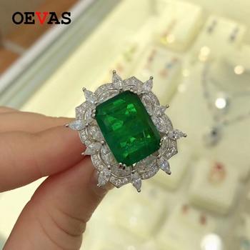 Details about  /OEVAS Vintage 925 Sterling Silver Created Moissanite Emerald Gemstone Flower