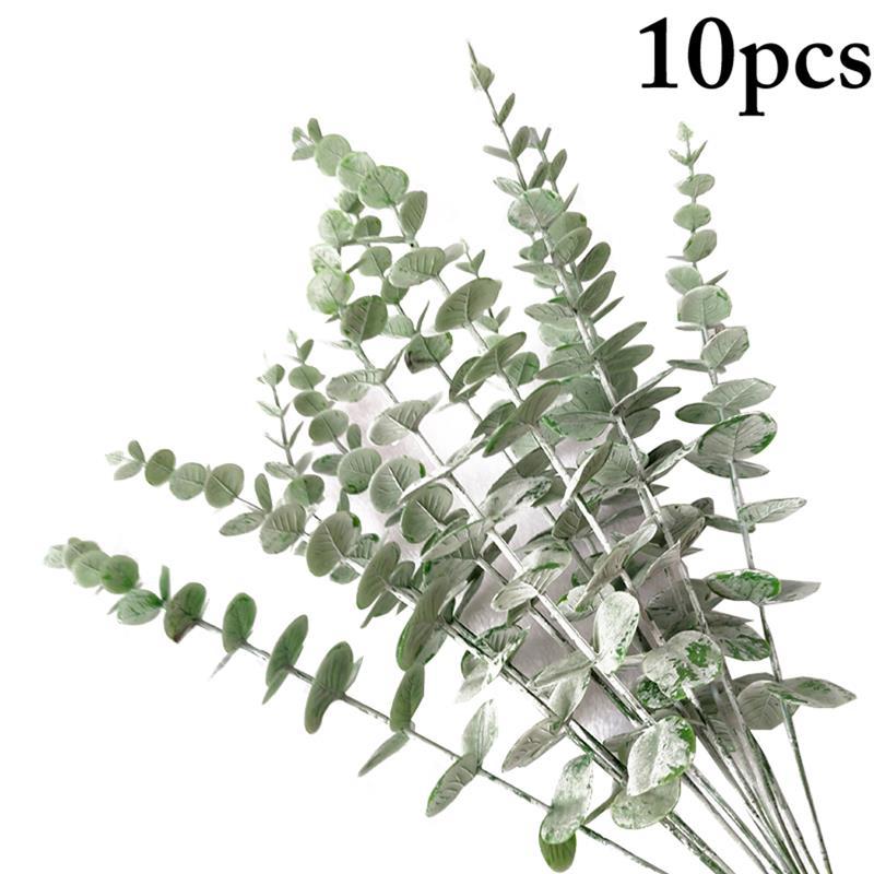 10 stücke Künstliche Blätter Zweig Retro Grün Eukalyptus Blatt für Home Decor Hochzeit Pflanzen Faux Laub Zimmer Dekoration