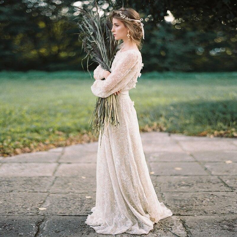 Unique Gold Ivory Lace Wedding Dresses Long Sleeve A Line Bridal Gowns Bohemian Vestido De Noivas   DW213