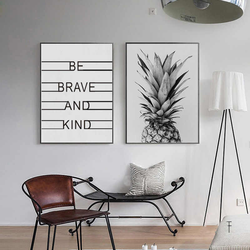 Nordic Gray Pineapple Letters Study Living Room Decorative Drawing Inspirational Quote Canvas Painting Wall Art Home Decor