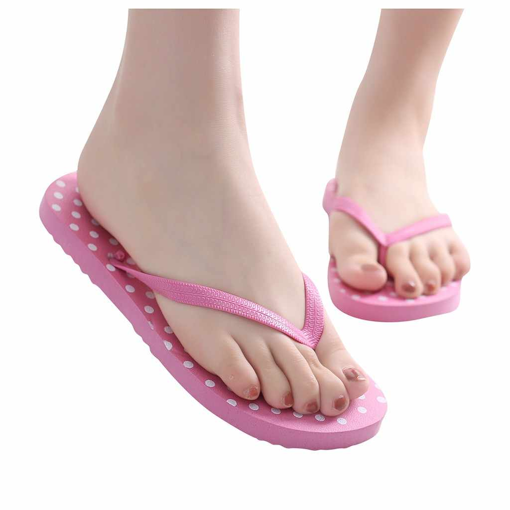Donne Pantofole di Vibrazione Della Spiaggia Infradito Sandali delle Donne Gilrs Estate Dot Stampato Anti-slip Slipper Casa Coperta casual Scarpa trasporto di goccia