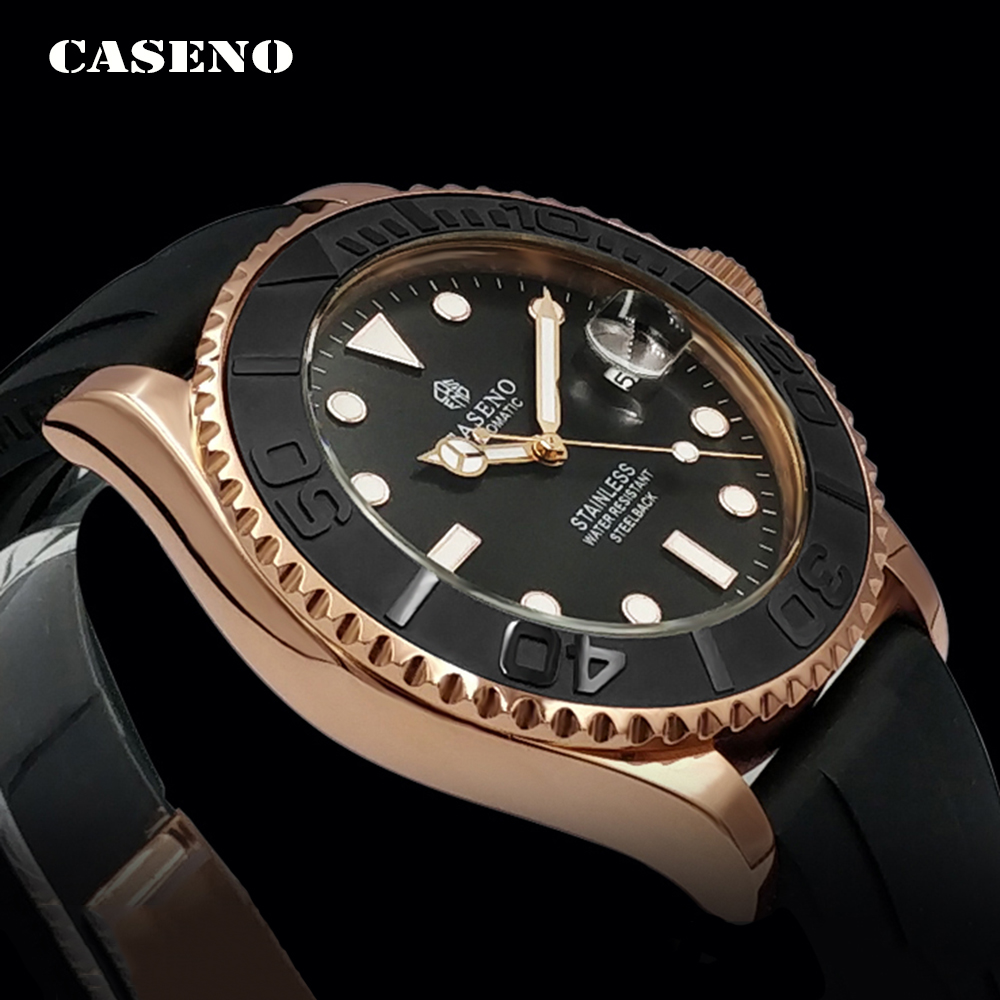 Automatic Mechanical Watch Men Top Luxury Brand Mens Watches Black Ceramic Outer Ring Gold Stainless Steel Silicone Watch CASENO