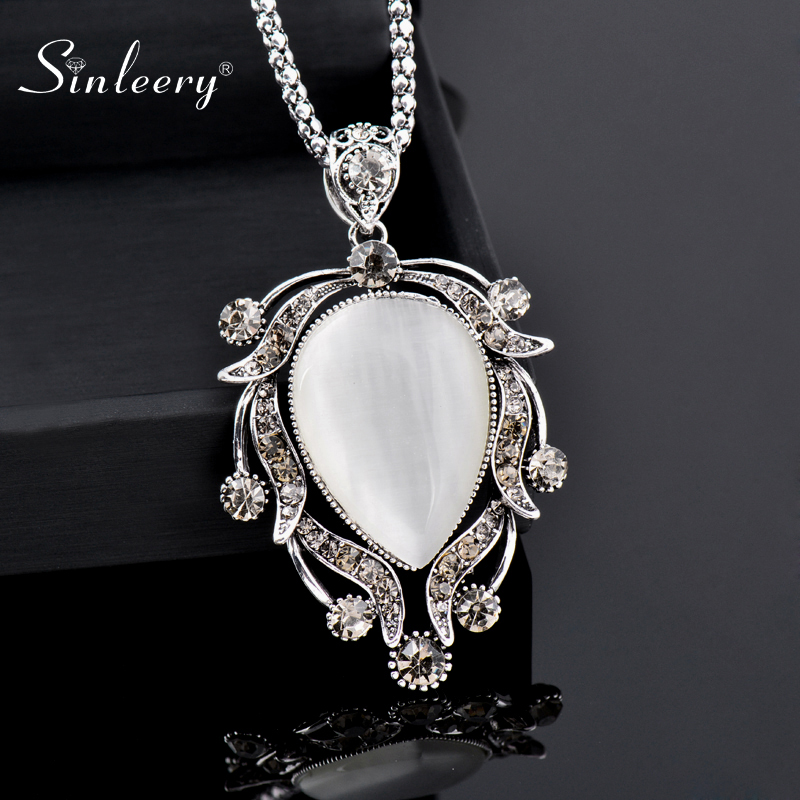 Charm Jewelry National Crystal Wind Pendant Chain Vintage Silver Long Sweater Necklace