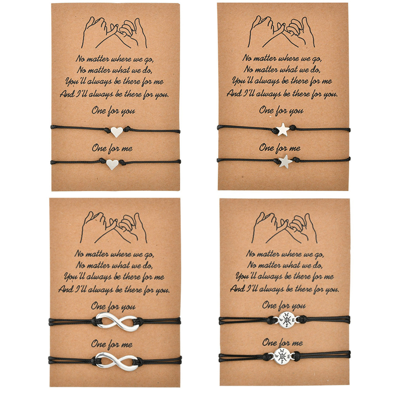 2pcs/set Heart Star Compass Charm Bracelets One for you one for me Black String Braiding Couple Bracelet for Men Women Wish Card