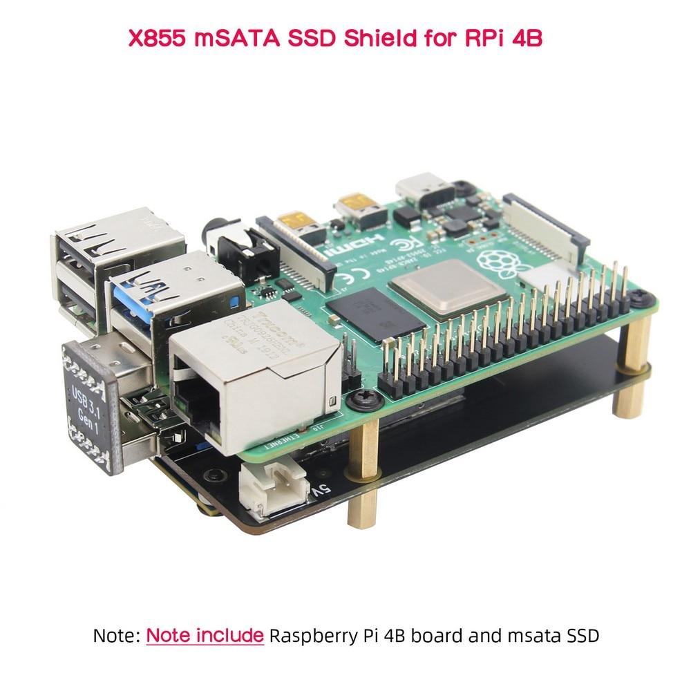 Raspberry Pi 4 MSATA, Raspberry Pi 4B MSATA SSD Expansion Board, X855 V1.3 USB3.1 Shield For Raspberry Pi 4 Model B