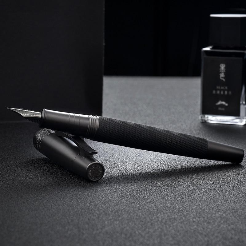 1Pcs Hongdian 6013 Black Metal Fountain Pen Titanium Black F/EF Nib Craft Pattern Full Steel Metal Ink Pen Business Gift Pen