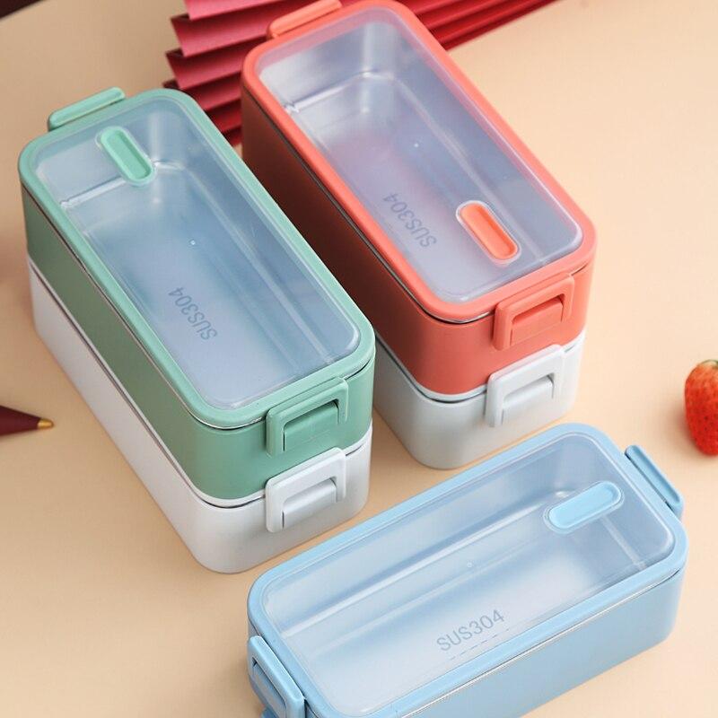 1100ml çift katmanlı paslanmaz çelik 304 yemek kabı sızdırmaz Bento kutuları mikrodalga yetişkin öğrenci gıda saklama kabı BPA ücretsiz