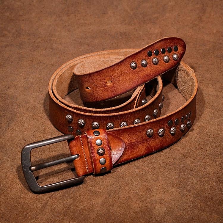 Rivet Retro Men's Women's Belt Top Layer Genuine Leather Pin Buckle Belt Hand-sewn Luxury Quality Designer Belt Men Women 2020