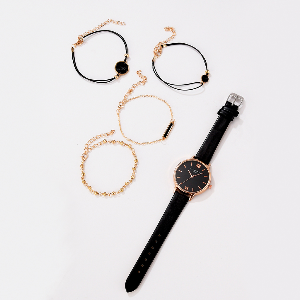 Top SaleWatch Set Women 5pcs Woman Quartz Wristwatch Leather Ladies Bracelet Luxury Watch Casual Relogio Femenino Gift For Girlfriend