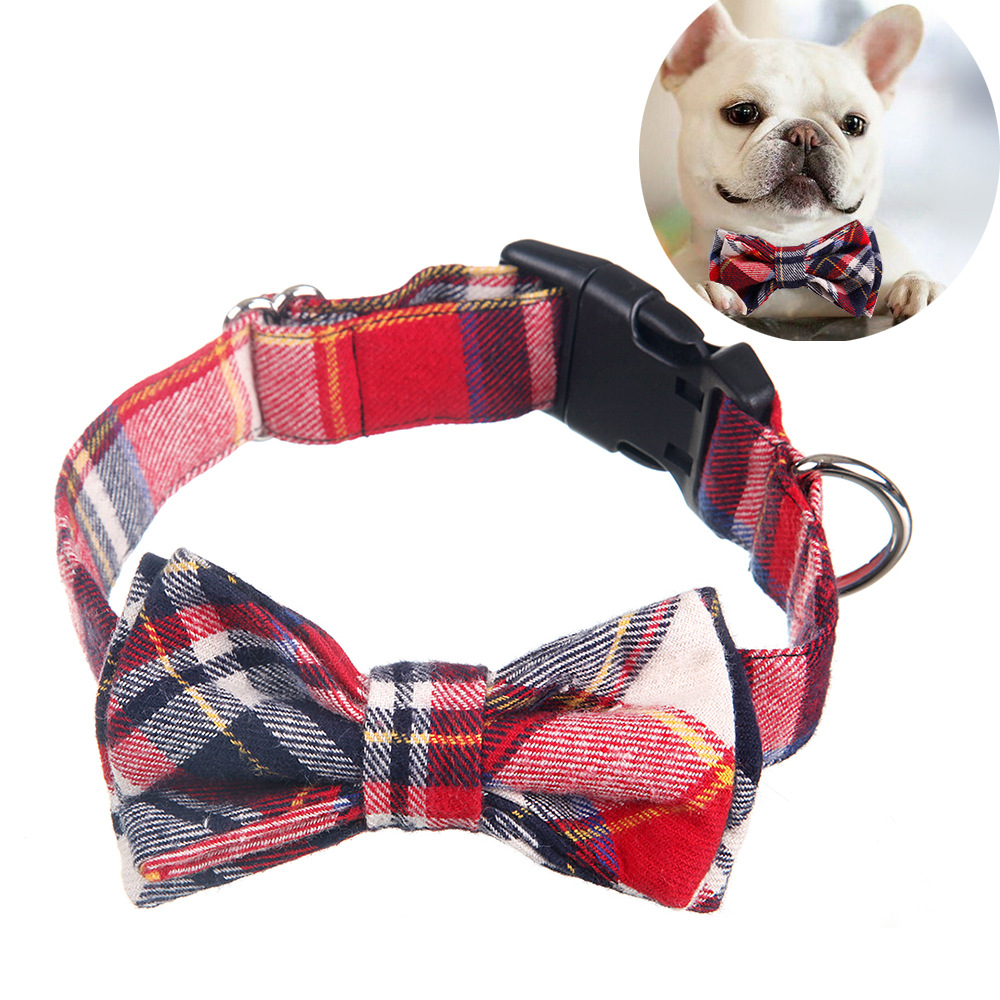 Hot Selling Pet Bow Neck Ring Christmas Series Dogs And Cats England Bowtie Handmade Customizable Neck Ring
