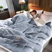 Mmermind mantas de lã, cobertor para adultos grosso quente inverno casa super macio edredom sólido cobertor de luxo em cama dupla