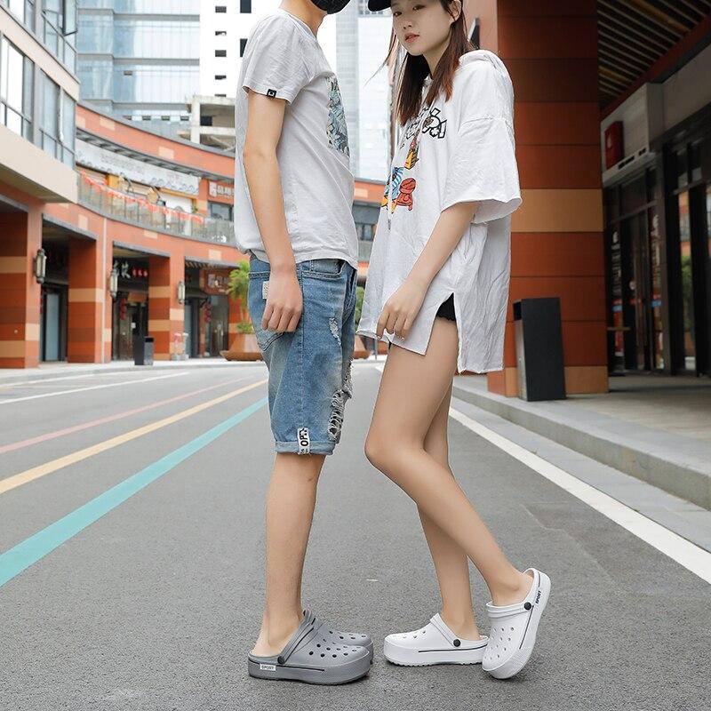 Image 4 - 2020 New Sandals Men Square Hole Couple Sandals Summer Flip flops Breathable Beach Shoes Comfortable Men and Women ShoesBeach & Outdoor Sandals   -