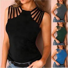 New Women's Summer Fashion Plus Size T Shirts Solid Color Knitted Off Shoulder Hollow Out Sexy Female Tops S-5XL