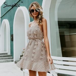 Image 3 - Simplee Elegant flower embroidery short dress Women sexy spaghetti strap summer sundress Female lace up mini beach dress 2019