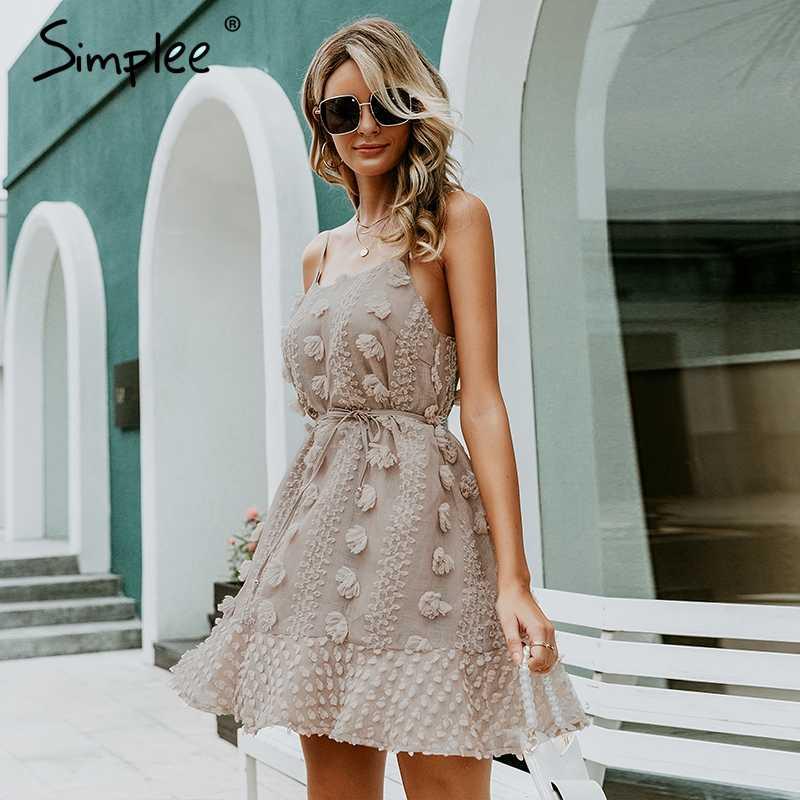 Simplee Elegante fiore del ricamo del vestito Delle Donne sexy della cinghia di spaghetti di estate vestito estivo Donna lace up breve spiaggia del vestito 2019