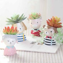 4pcs/set Farm Animals Planter Animal Succulent Plants Pots Mini Bonsai Cactus Flower Pot Home Decor For Drop Shipping