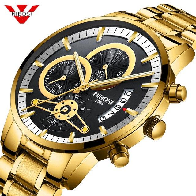 NIBOSI męskie zegarki luksusowa tarcza marka złoty zegarek mężczyźni Relogio Masculino automatyczny zegarek z datownikiem zegarek kwarcowy świecący kalendarz