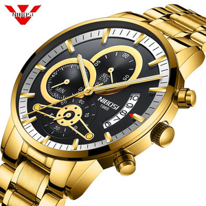 Image 1 - Nibosi relógio de pulso automático masculino, relógio de quartzo marca de luxo dourado com data, luminoso, calendário, relógio de pulso