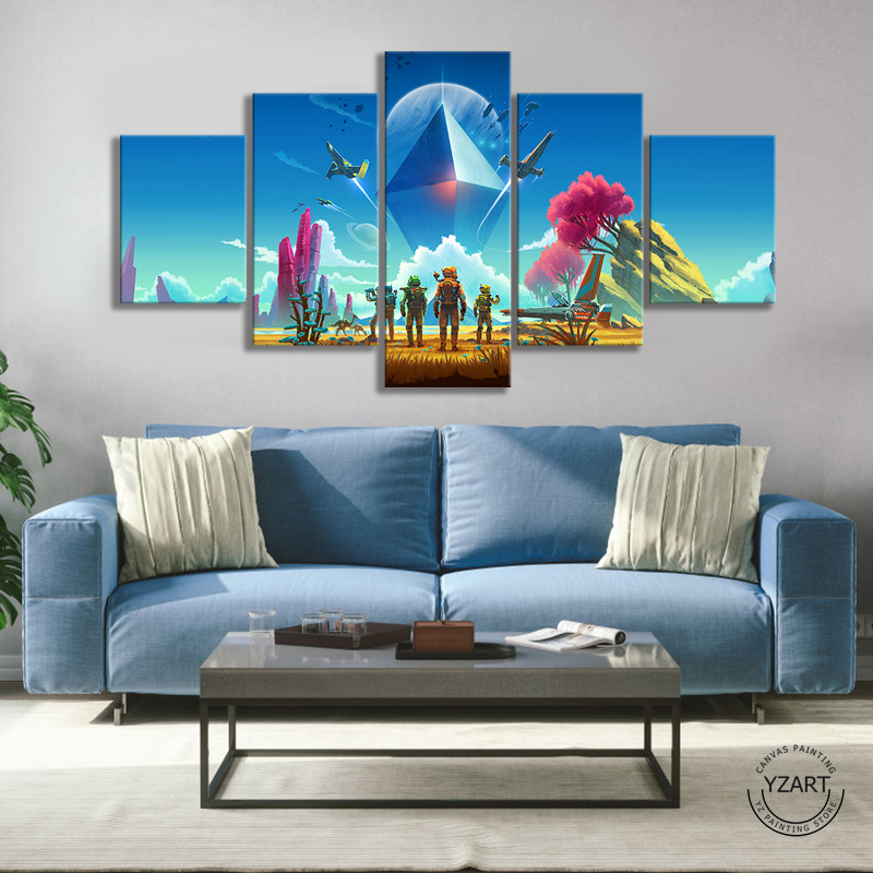 Space Exploration Game Poster Paintings No Mans Sky Video Games Art Wall Decor Paintings Fantasy Wall Art Oil Paintings image