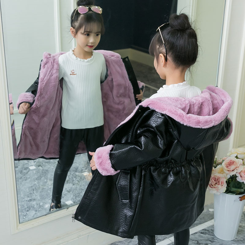 New Thicken Warm Leather Jacket For Girls Winter Fur Leather Brushed Coat  Children Solid Casual Warm Outerwear 3T-14T