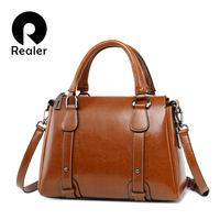REALER luxury handbags women retro leisure tote bags designer female leather shoulder bag ladies crossbody bag with top handle