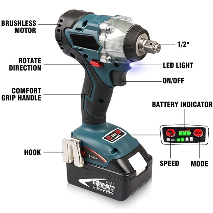 H45ca25b9bb1447ed92fa6652dbfd65b97 - Abeden Brushless Electric Impact Wrench 18V 350 N.m Cordless Screwdriver Speed Rechargable Drill Driver LED Light for makita