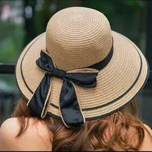 AcademyFits Quality Round Brim Visor Sun Straw Bucket Hat Summer Beach Outdoor Protection Bow Men Women Casual Cap Bow Ribbon Top Hat